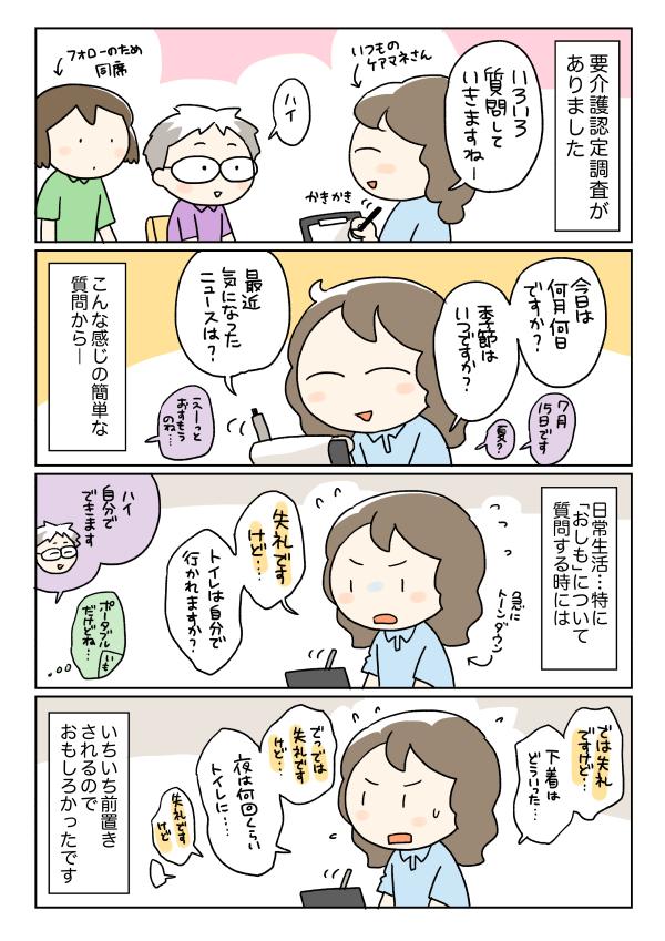 要介護認定調査の漫画